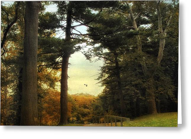 Autumn Landscape Digital Greeting Cards - Enter Autumn Greeting Card by Jessica Jenney