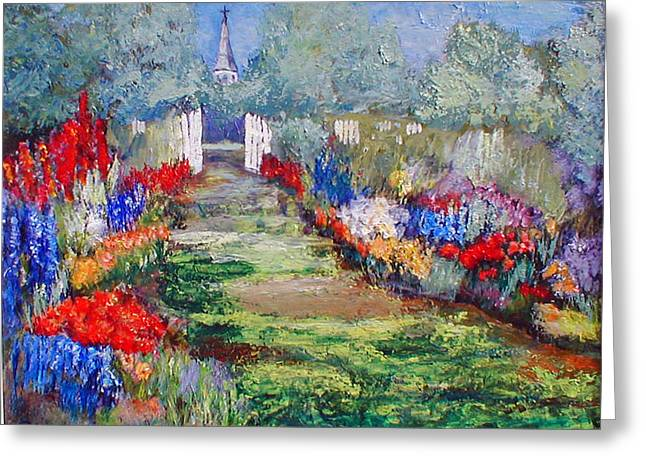 Greeting Card featuring the painting Enter His Gates by Gail Kirtz