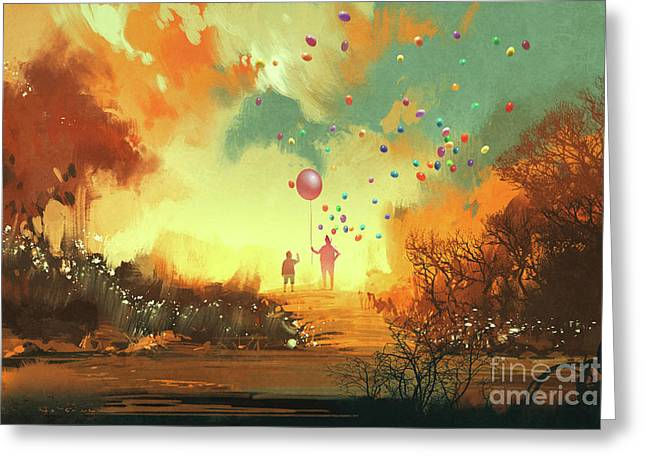 Greeting Card featuring the painting Enter The Fantasy Land by Tithi Luadthong