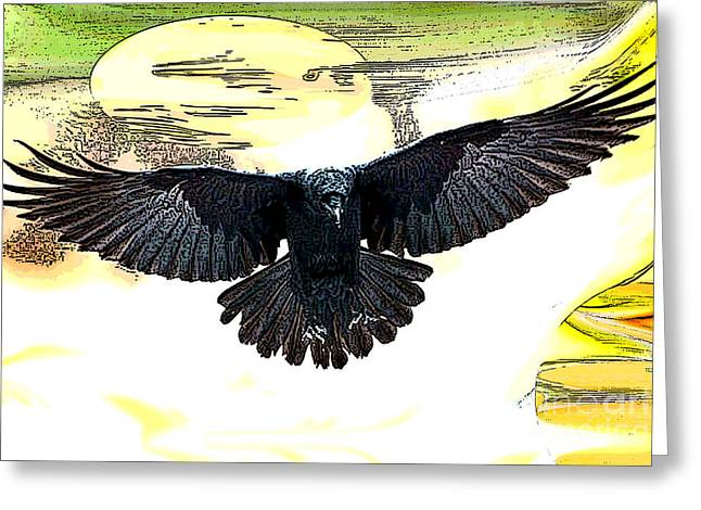 Enter The Raven Greeting Card by Tbone Oliver