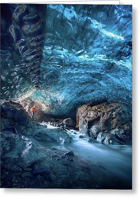 Entering The Ice Cave Greeting Card by Peter Svoboda