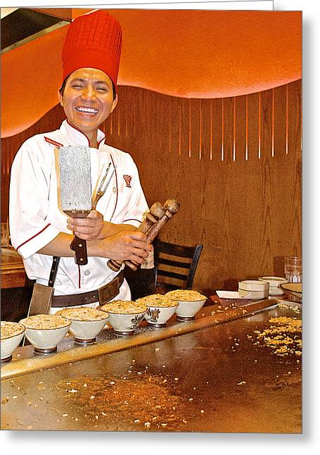 Greeting Card featuring the photograph Entertaining Chef At Benihana In Monterey-california by Ruth Hager