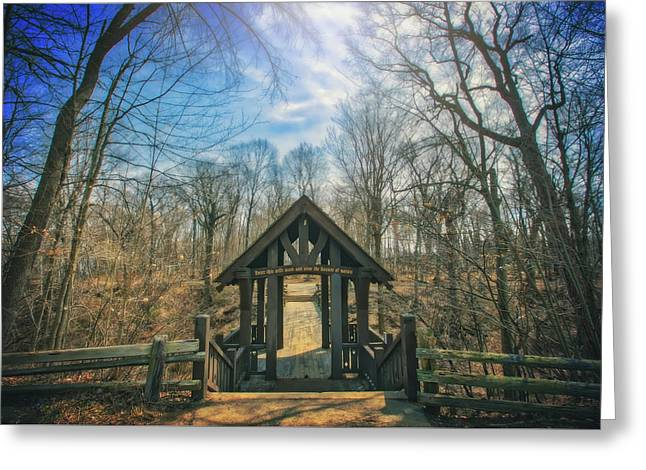 Greeting Card featuring the photograph Entrance To Seven Bridges - Grant Park - South Milwaukee #3 by Jennifer Rondinelli Reilly - Fine Art Photography