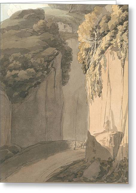 Entrance To The Grotto At Posilippo, Naples Greeting Card by Francis Towne