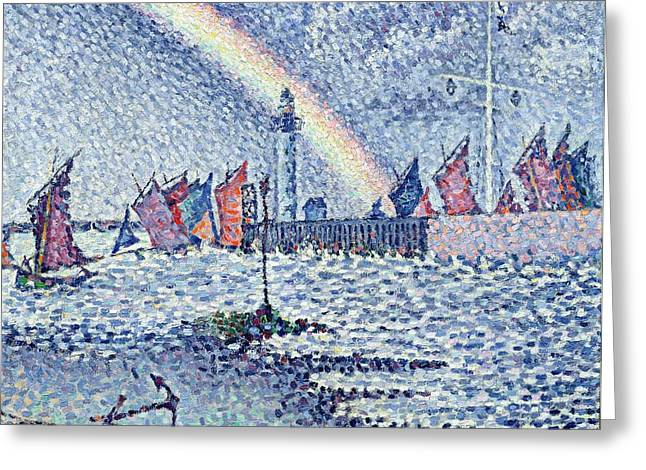 Pointillist Paintings Greeting Cards - Entrance to the Port of Honfleur Greeting Card by Paul Signac