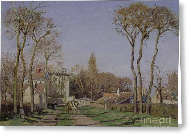 Entrance To The Village Of Voisins Greeting Card by Camille Pissarro