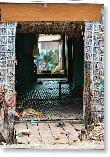 Entrance To Tonle Sap Home  Greeting Card by Chuck Kuhn