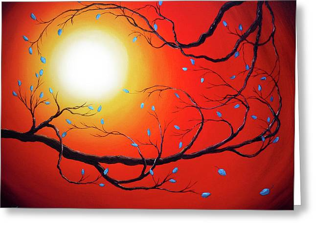Entwining Branches Of Turquoise Leaves Greeting Card