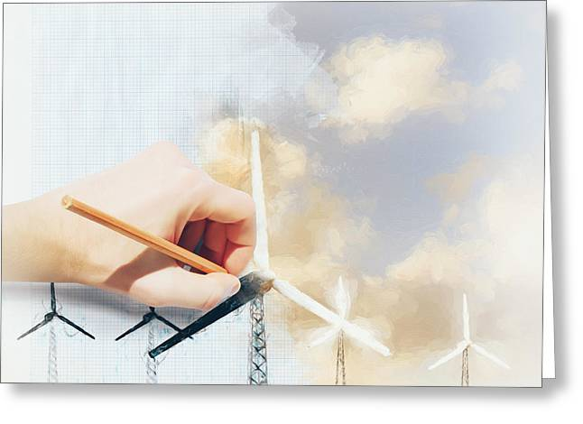 Environment Engineer Drafting Sustainable Design Greeting Card by Jorgo Photography - Wall Art Gallery