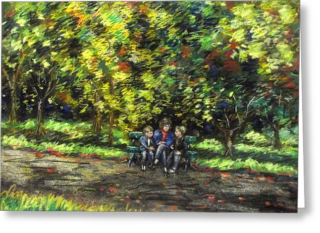 Canvas Pastels Greeting Cards - Eoin Miraim And Cian In Botanic Gardens Greeting Card by John  Nolan