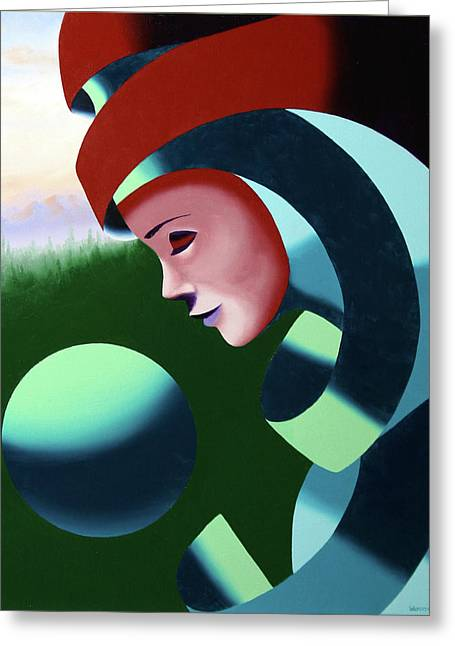 Greeting Card featuring the painting Eos - Abstract Mask Oil Painting With Sphere By Northern California Artist Mark Webster  by Mark Webster