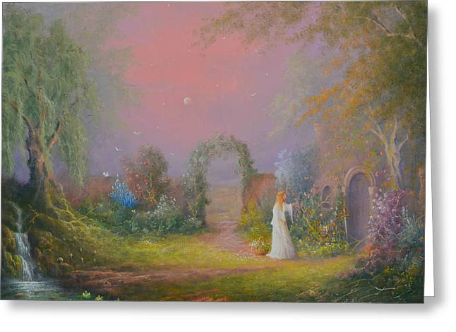 Eowyn In The Garden Of Healing Greeting Card by Joe  Gilronan