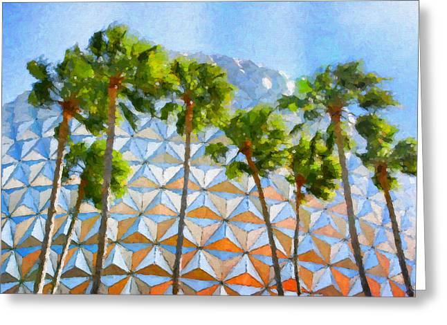 Epcot Palms Greeting Card by Paul Bartoszek
