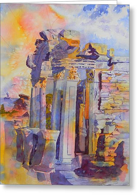 Ephesus Ruins Greeting Card by Warren Thompson