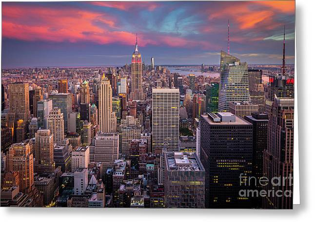 Epic Manhattan Sunset Greeting Card by Inge Johnsson
