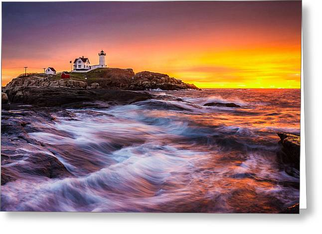 Epic Sunrise At Nubble Lighthouse Greeting Card by Benjamin Williamson