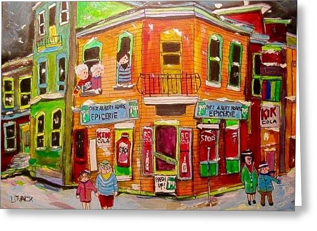 Epicerie Hoare Montreal Corner Store Greeting Card by Michael Litvack