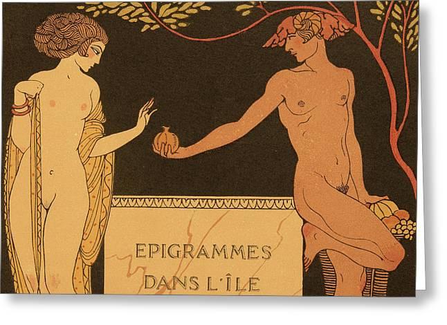 Epigrammes Dans L'ile De Chypre Greeting Card by Georges Barbier