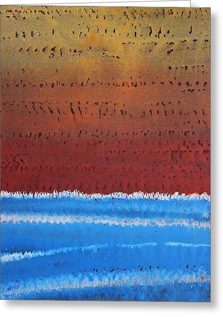 Equatorial Original Painting Greeting Card by Sol Luckman