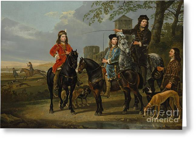 Equestrian Portrait Of Cornelis And Michiel Pompe Van Meerdervoort With Their Tutor And Coachman, St Greeting Card