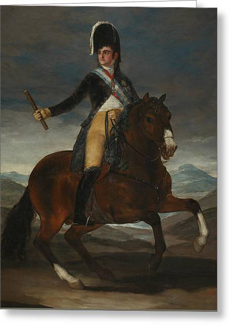 Equestrian Portrait Of Fernando Vii Greeting Card by Francisco Goya