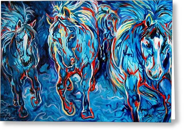 Equine Abstract Blue Four By M Baldwin Greeting Card by Marcia Baldwin