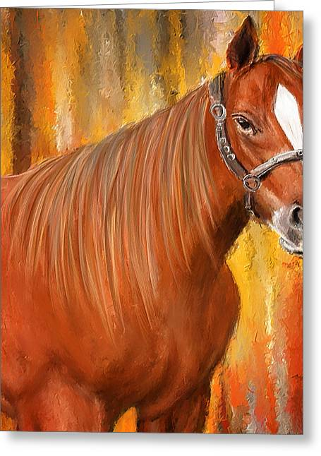 Equine Prestige - Horse Paintings Greeting Card by Lourry Legarde