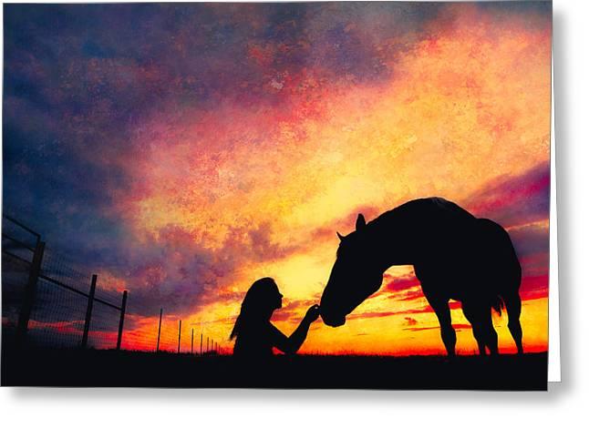 Equine Sunset Greeting Card by Debi Bishop