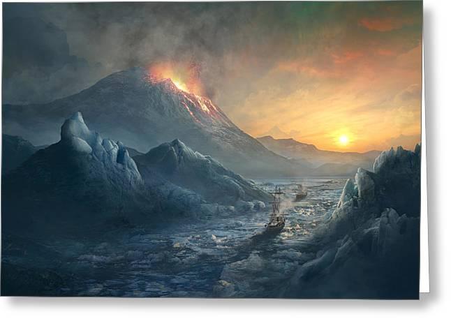 Erebus Mount Greeting Card by Guillem H Pongiluppi