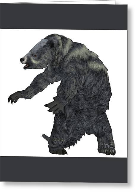 Eremotherium Sloth On White Greeting Card