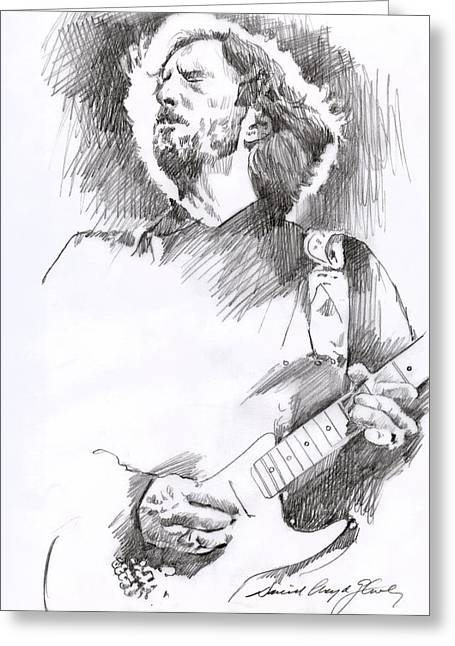 Eric Clapton Sustains Greeting Card by David Lloyd Glover