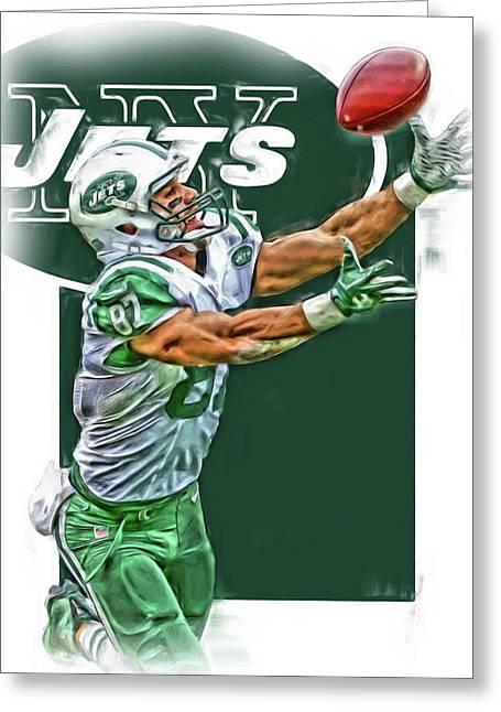 Eric Decker New York Jets Oil Art Greeting Card by Joe Hamilton