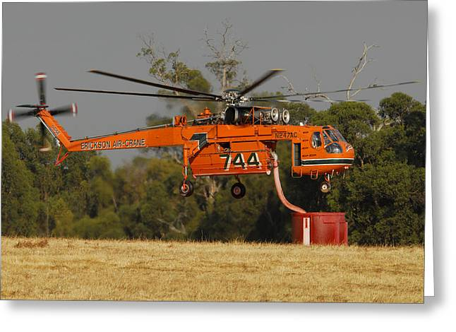 Erickson Air Crane Sikorsky S64e Skycrane N247ac Tanker 744 Greeting Card by Brian Lockett