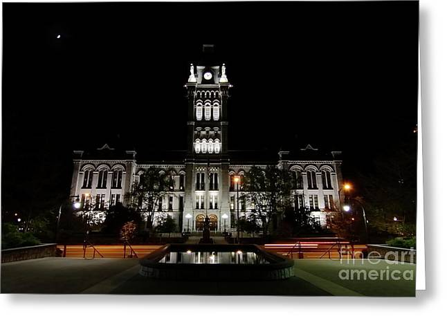 Erie County Hall At Night. Greeting Card by Daniel J Ruggiero