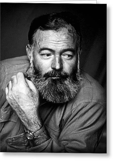 Ernest Hemingway 1944 Greeting Card by Daniel Hagerman