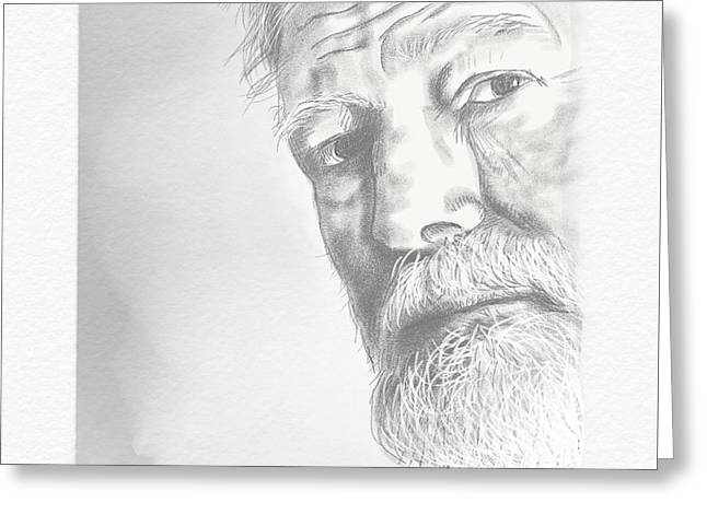 Greeting Card featuring the digital art Ernest Hemingway by Antonio Romero