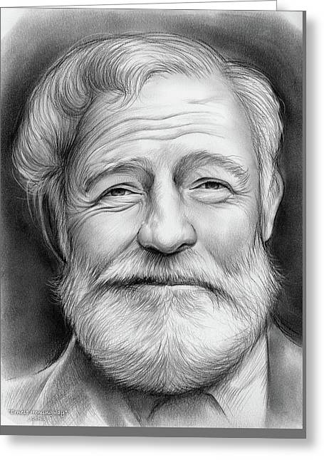 Ernest Hemingway Greeting Card by Greg Joens