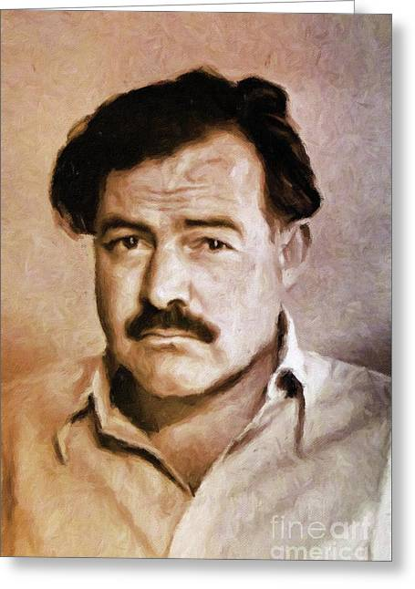 Ernest Hemingway, Literary Legend By Mary Bassett Greeting Card by Mary Bassett
