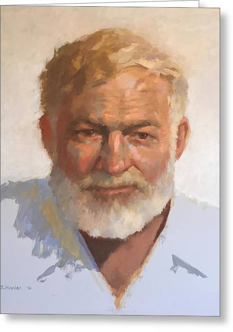 Ernest Hemingway Greeting Card by Mike Hanlon