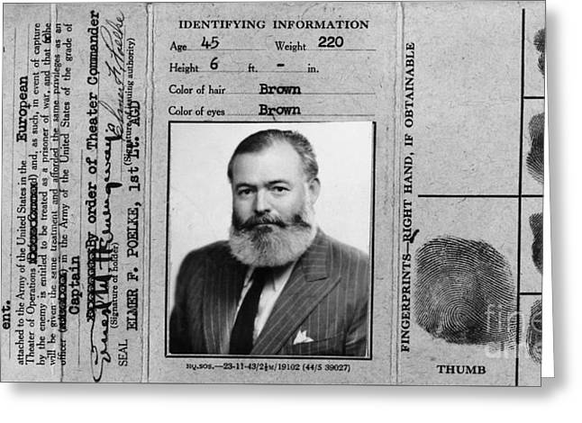 Ernest Hemingway Military Identification  Greeting Card by Jon Neidert