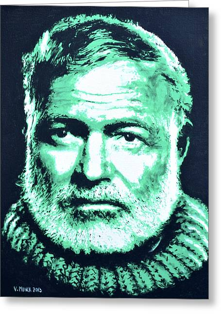 Ernest Hemingway Greeting Card by Victor Minca