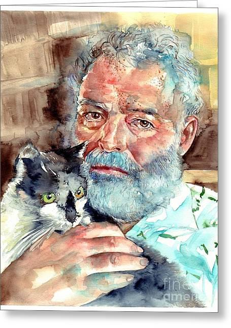 Ernest Hemingway Watercolor Greeting Card