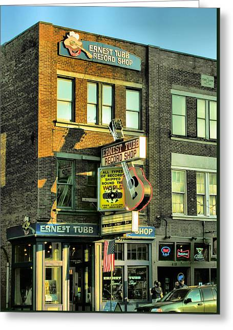 Ernest Tubbs Record Store Greeting Card by Steven Ainsworth