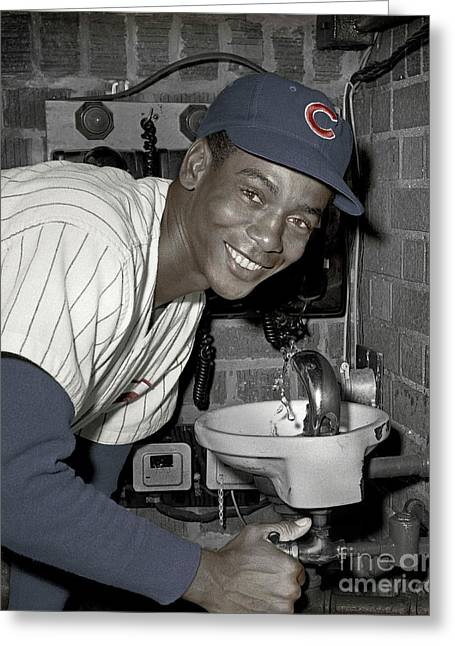 Ernie Banks At Cubs Water Fountain Greeting Card