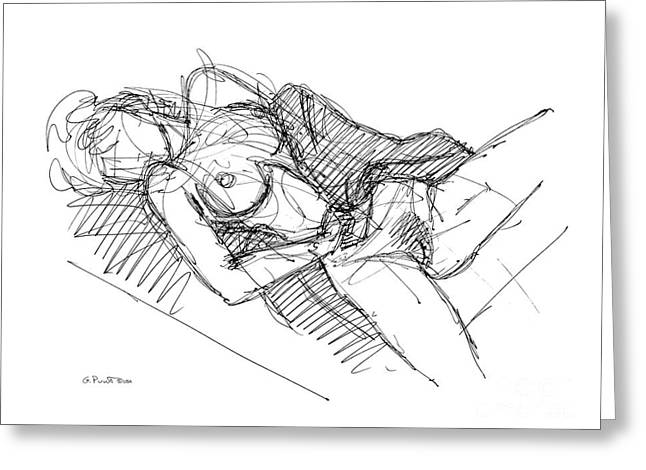Greeting Card featuring the drawing Erotic Art Drawings 7 by Gordon Punt