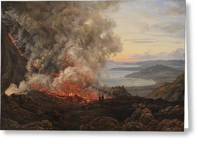 Eruption Of The Volcano Vesuvius Greeting Card by Johan Christian Dahl