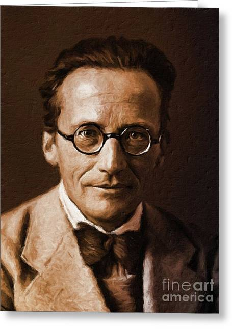 Erwin Schrodinger, Physicist By Mary Bassett Greeting Card by Mary Bassett