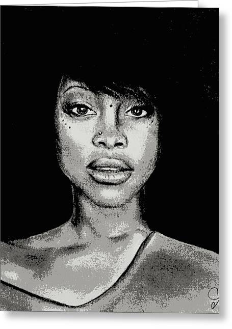 Erykah Baduism - Pencil Drawing From Photograph - Charcoal Pencil Drawing By Ai P. Nilson Greeting Card