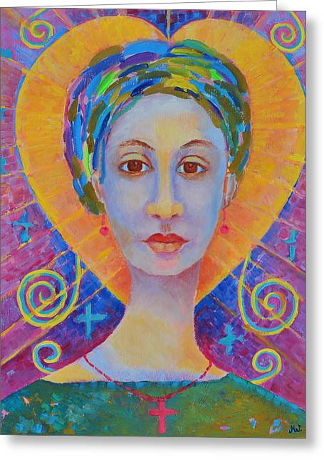 Erzulie Freda Painting. Ezili Freda Portrait Made In Poland By Polish Artist Magdalena Walulik Greeting Card by Magdalena Walulik