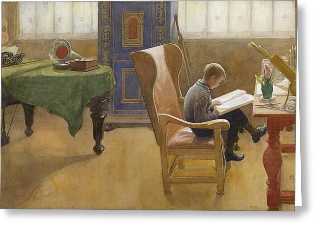 Esbjorn At The Study Corner Greeting Card by Carl Larsson